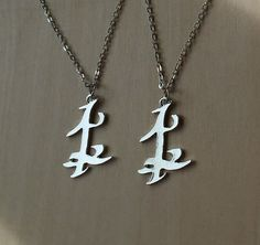 Set of TWO Parabatai Rune Pendant Necklaces Shadowhunters
