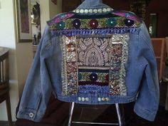 decorated denim jacket vintage back panel with by kushibydeezine, $185.00