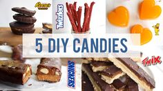 Here are 5 DIY Candy Recipes that will satisfy any sweet tooth! We make a homemade version of Snickers, Twix, Gummy Bears, Twizzlers and Peanut Butter Cups.
