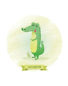 Nursery art alligator print kids illustration by IreneGoughPrints