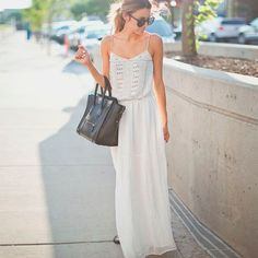 Tendência de look com vestido longo