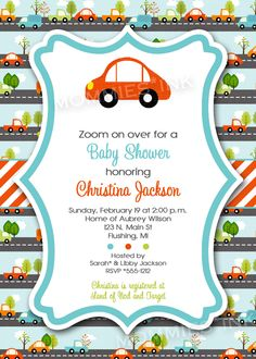 Simple+Mod+Car+Baby+Shower+or+Birthday+Invitation++by+MommiesInk,+$12.50