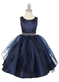 Navy Ruffle Organza Girl Dress with Dazzling Waist