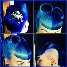 Modern take on a traditional pin-up look #shaved #side #blue