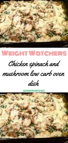 Chicken spinach and mushroom low carb oven dish // #weightwatchers #weight_watchers #Chicken #mushroom #recipes #smartpoints