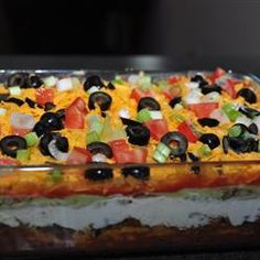 Seven Layer Dip II 7 Layer Dip - if you mix 1 can of bean dip with the refried beans it will make it easier to spread. Seven Layer Dip II 7 Layer Dip - if you mix 1 can of bean dip with the refried beans it will make it easier to spread. Dip Recipes, Mexican Food Recipes, Cooking Recipes, Recipies, Mexican Dishes, Yummy Recipes, Healthy Recipes, Seven Layer Taco Dip, 7 Layer Dip Recipe With Meat