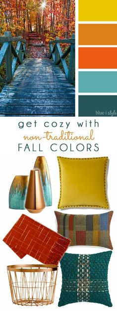 COZY FALL COLORS! A simple mood board to help you bring these non-traditional fall colors of yellow, orange, and teal into your home decor.: