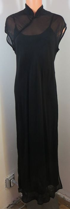 """""""DONNA RICCO"""" CLASSIC LONG BLACK DRESS 2 LAYER - PLEASE SEE ALL PICTURES #DONNARICCO #PLEASESEEALLPICTURES"""