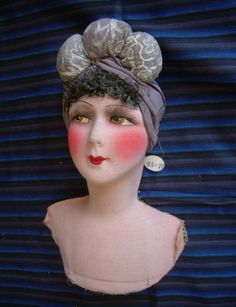 TETE-DANCIENNE-POUPEE-DE-SALON-SOIE-BOUDOIR-DOLL-HEAD-SILK-ART-DECO