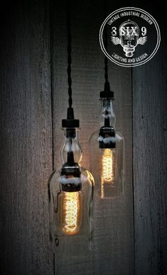 Cute Balvenie Whiskey Bottle Pendant Light Black Series Want some upcycled whiskey bottle lighting with some class? Balvenie is the answer to that! These bottles are absolutely beautiful as a pendant light,. Industrial Lighting, Pendant Lighting, Industrial Chandelier, Industrial Table, Vintage Industrial, Pendant Lamp, Balvenie Whisky, Luminaria Diy, Black Pendant Light