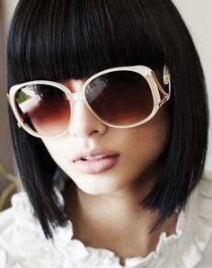 Fringe / Bob hairstyle - love the sunglasses too!