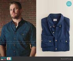 Oliver's blue button down shirt on Arrow.  Outfit Details: https://wornontv.net/53393/ #Arrow