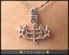 Sterling Silver 9 Star Bahai Pendant w/ Ring Stone by 9StarJewelry #bahai #bahaijewelry #9starjewelry