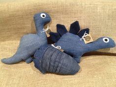 These upcycled prehistoric plush toys are all made with various shades of blue denim. Choose from the brachiosaurus, trilobite, stegosaurus, or