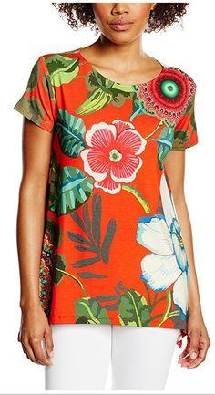 #Desigual Shirt - Modell Emilio, Muster:  floral und Mandala, orange.