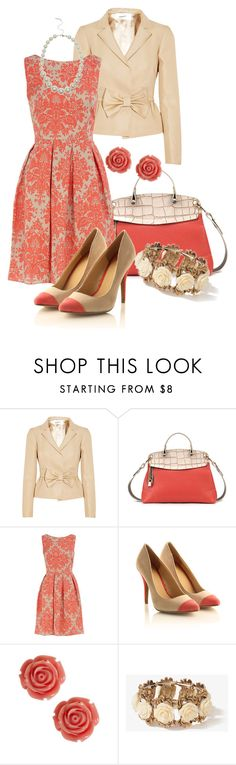 """Color Duo - Coral n' Cream"" by stylesbyjoey ❤ liked on Polyvore featuring Valentino, Dorothy Perkins, Forever 21, Red Herring, floral dresses, two-tone pumps, blazers, bows, roses and two-tone bags"