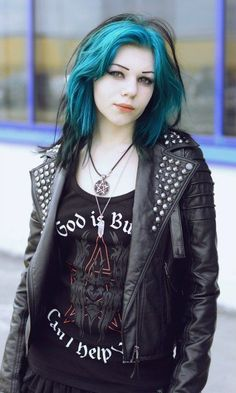 Straight up #goth girl with blue and black hair