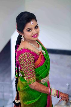 Shopzters is a South Indian wedding site Cutwork Blouse Designs, Wedding Saree Blouse Designs, Pattu Saree Blouse Designs, Half Saree Designs, Fancy Blouse Designs, Blouse Neck Designs, Wedding Sarees, South Indian Blouse Designs, Hand Work Blouse Design