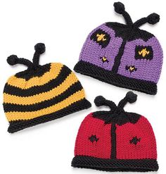 Itty-Bitty Buggie Baby Hats, part of Creative Knitting's FREE Baby Hat Pattern of the Month. Get the download here: http://www.creativeknittingmagazine.com/monthly_project.php?project_code=B&fcebkck