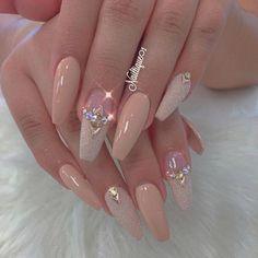 35 Simple Ideas for Wedding Nails Design 35 Simple Ideas for Wedding Nails Design Professionally performed and how to shape nails coffin pattern on nails can be done not only with the help of brushes, but also with the help of dots. This manicure tool Fancy Nails, Bling Nails, My Nails, Nails Today, Nude Nails, Fabulous Nails, Gorgeous Nails, Pretty Nails, Crome Nails