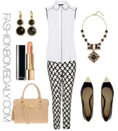 houndstooth pants, black pointy flats with interview bag