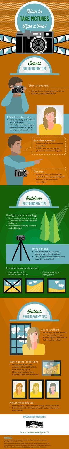 INFOGRAPHICS: How to Take Pictures Like a PRO!  Expert Photography Tips Indoor Photography Tips Outdoor Photography Tips