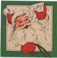 VTG Christmas Greeting Card Santa Claus St. Nick Hello Jolly Cheerful