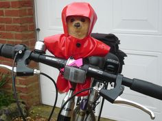 Little Ted is a big fashion disaster. He's accompanying my bestest friend, Clare, on this bike from Lands End to John O'Groats. At least he's not gone for lycra and red is OK too but the rest of his gear is so retro it's past it. Guys avoid the shiny look always - leather & pvc are pants especially in sou'westers.
