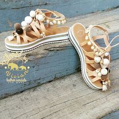 Leather Platform with raised white  bottom 4 cm in natural colour | pom pon -shells - pearls | ● | EU size 35 - 42 for women | ● Σανδαλακια με μαλακό υπερυψωμένο πάτο 👣πομ πομ κοχύλια και πέρλες 😀 #tailoredbyvivian  #greekdesigners #greece #madeingreece #summer #greeksandals #leathersandals #ladies #girls #outfitoftheday #outfit #betheone #betailored #worldwideshipping #worldwide #boho #bohochic #bohemian #bohosandals #pompon