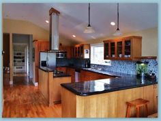 Cherry Cabinets Kitchens Kitchen With Bamboo Flooring Bamboo Flooring