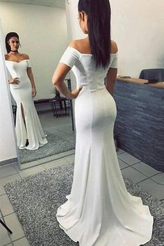 d5550b74c185 Off the Shoulder White Short Sleeves Mermaid Slit Long Prom Dresses Formal  Evening Dress LD1855
