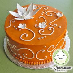 Stuffed Cakes: Orange with White Blossoms Cake