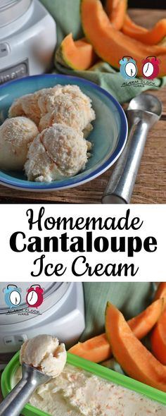 Homemade Cantaloupe Ice Cream from Alarm Clock Wars. Sound strange? It's so tasty! Try this Homemade Cantaloupe Ice Cream for a refreshing summer treat.