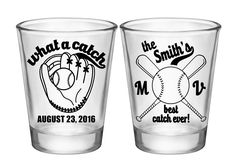 "100x Custom Sports Wedding Favors 2 Side Shot Glasses | 1.75 oz Clear | What A Catch (2A) Baseball | Choose Imprint Color | by ""ThatWedShop"" on Etsy 