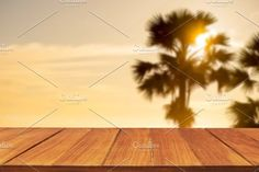 Wood table top on palm tree by Pushish Images on @creativemarket