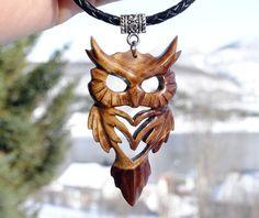 Wooden owl pendant  http://jovictory.deviantart.com/art/Wooden-owl-pendant-Evil-skeleton-design-523082077