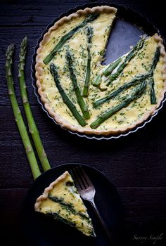 Asparagus, Goat Cheese and Chive Quiche.