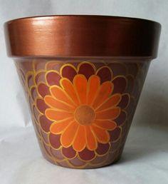 Warm tones, hand painted flower pot by brilliantexpressions… Ceramic Pots, Terracotta Pots, Clay Pots, Clay Pot Projects, Clay Pot Crafts, Painted Plant Pots, Painted Flower Pots, Clay Pot People, Decorated Flower Pots