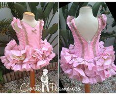vestido corte flamenco con volante canastero
