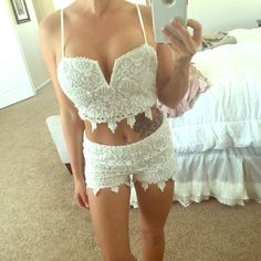 lace set White lace set. Super comfy. Brand new with tags. Little makeup on the strap as shown it looks like from someone trying it on before me I'm assuming. ❤️ Charlotte Russe Dresses