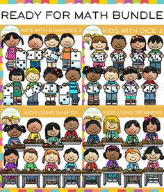 This math bundle contains 4 sets of illustrations and includes a total of 64 image files, which includes,32 color images and 32 black & white images in transparent 300dpi png. This set includes: Kids with Dice 2: 16