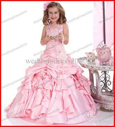 Wholesale Lovely Beaded Halter Pink Sleeveless Satin Long Flower Girls Dresses/Ball Gown/Party Pageant Dress, Free shipping, $85.98-104.88/Piece | DHgate