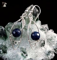 Sterling Silver earrings with Sapphire / wire wrapped - Wedding earings (*Amazon Partner-Link)