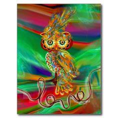 Tropical Fashion Queen Owl Postcard