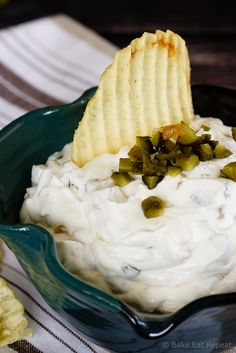 Gherkin and Caramelized Onion Dip - This gherkin and caramelized onion dip makes the perfect appetizer or snack - easy to make and so tasty, you'll never want to buy chip dip again! #sponsored