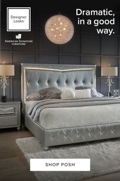 Style your space in a way that's unapologetically you. Build your dream set—you deserve it. This everyday glam bedroom set features metallic finishes, crushed crystal detailing, and a built-in LED light strip built right into the headboard. Glam Bedroom Set, Bedroom Decor For Teen Girls, Room Ideas Bedroom, Master Bedroom, Luxurious Bedrooms, Room Inspiration, Living Room Decor, Aviation Accidents, Cushion Headboard