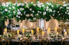 Rectangular tables were decorated with low arrangements of blooms and pillar candles on crystal stands, as well as tall arrangements of greenery, ivory hydrang… Purple Wedding Centerpieces, Diy Wedding Decorations, Reception Decorations, Tall Centerpiece, Centerpiece Ideas, Wedding Favors Cheap, Wedding Games, Wedding Reception, Table Wedding