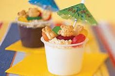 Sand pudding cups (vanilla pudding, graham cracker crumbs, gummy savers and teddy grams) and don't forget the umbrella!