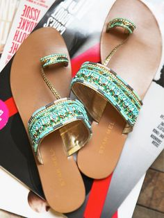 Use this idea to upcycle flipflops. (Free People Sabri Sandal - beaded, bejeweled leather thong sandals with toe loop - in Turquoise) Cute Sandals, Cute Shoes, On Shoes, Me Too Shoes, Shoes Sandals, Pretty Sandals, Beautiful Sandals, Pretty Shoes, Cheap Shoes