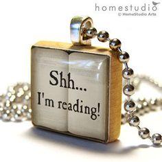 Shh I'm Reading: a jewelry pendant . Michel De Montaigne, I Love Books, Books To Read, My Books, I Love Reading, Book Nooks, Reading Nooks, Book Nerd, Book Quotes